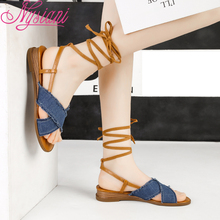 2019 Low Heels Women Peep Toe Sandals Cross-tied Denim Casual Student Sandals Shoes Square Heel Lace Up Sandals Women Nysiani