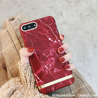 High End Atmospheric Simple Wine Red Marble Hard Plastic Phone Case For IPhone 8