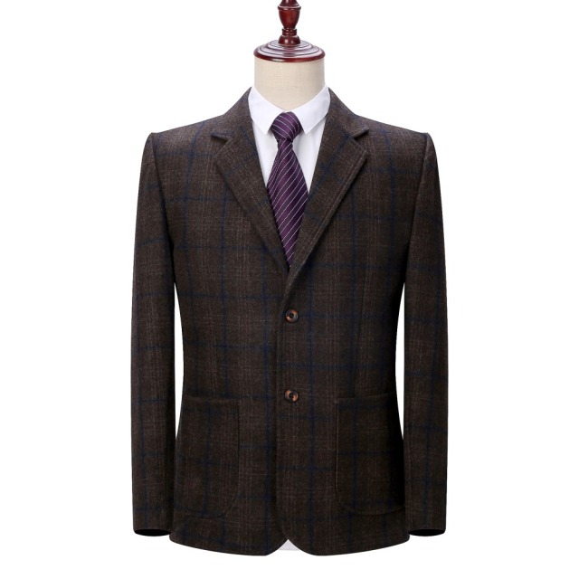 WAEOLSA Man Wool Blazer Plaid Jacket Suit Men Woollen Blends Garment Male Smart Casual Blazers Black Gray Jacket Suit Blazer 4XL