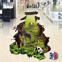 3D animal world animal world three-dimensional floor tiles painting 3d waterproof self-adhesive floor painting wallpaper coated  все цены