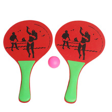 3 Colors Wooden Beach Ball Racket High Density Natural poplar board Game Props Kids Outdoor Fun Toy Sport Party Favor Gifts