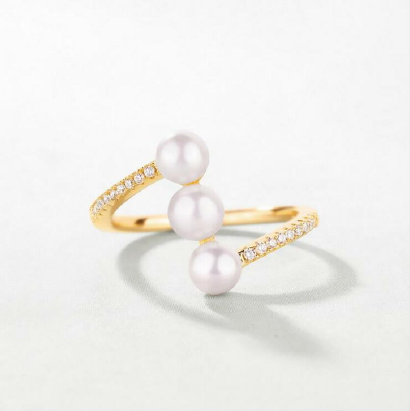 925 sterling silver 9K yellow gold freshwater bread pearl white zircon ring female J0339 in Rings from Jewelry Accessories