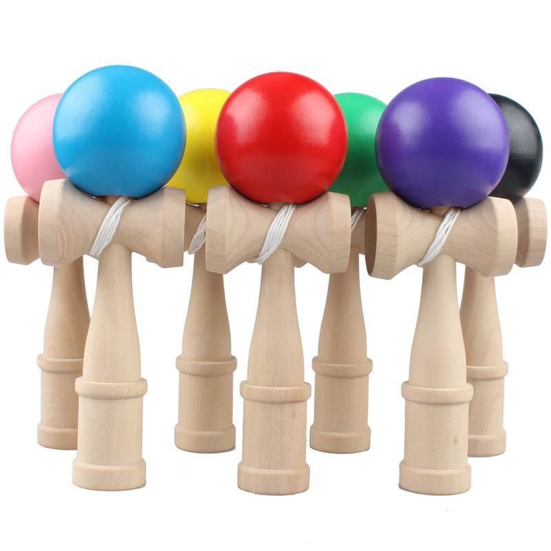Kids Sword Ball Elastic Frosted Skill Ball Professional Wooden Toy Skillful Juggling Ball Game Random Color