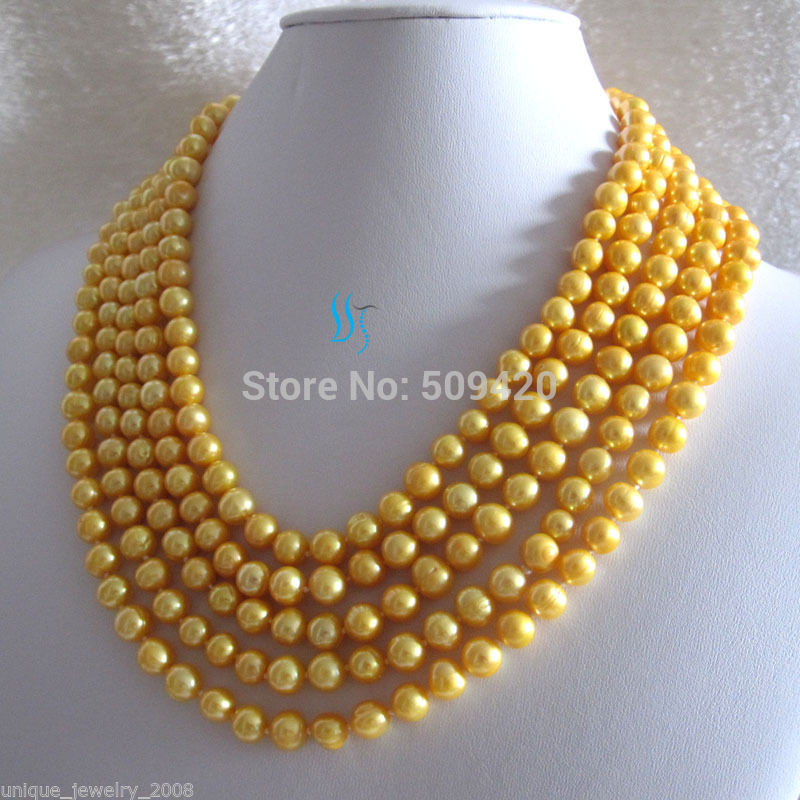 FREE SHIPPING>>@> > W&O667 >>100 7-9mm Golden Freshwater Pearl Necklace Strand JewelryFREE SHIPPING>>@> > W&O667 >>100 7-9mm Golden Freshwater Pearl Necklace Strand Jewelry