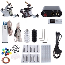 Complete Tattoo Kit Tattoo Kit 2 Machine Gun Pigment Tips Power Supply Set 20 Needle Tips Power Supply Set With EU US Plug