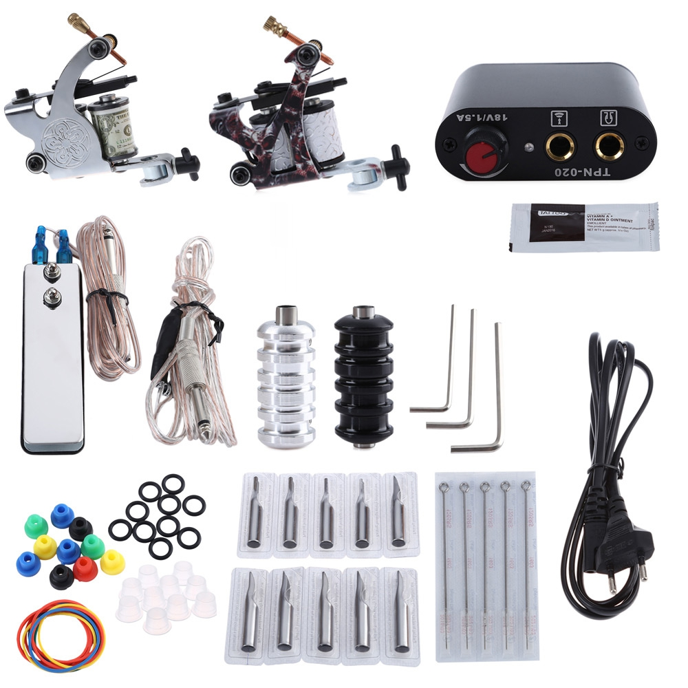 цены Complete Tattoo Kit Tattoo Kit 2 Machine Gun Pigment Tips Power Supply Set 20 Needle Tips Power Supply Set with EU US Plug