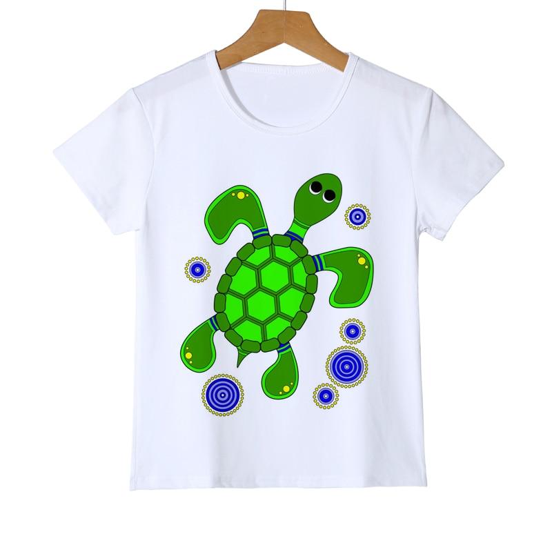 Детская мода; Новая одежда для детей с короткими рукавами черепаха дизайн футболка для мальчиков веселое Harajuku Футболки Битник для девочек с...