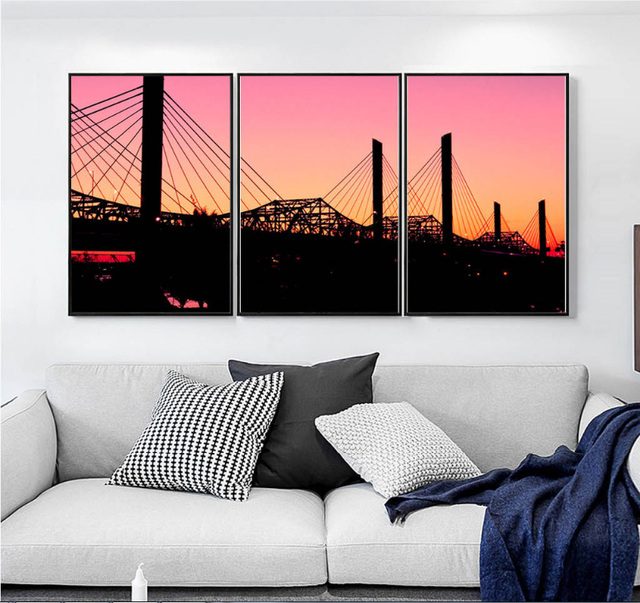 Small Fresh Bridge Sunset Art Hanging Picture 3 Pieces Canvas