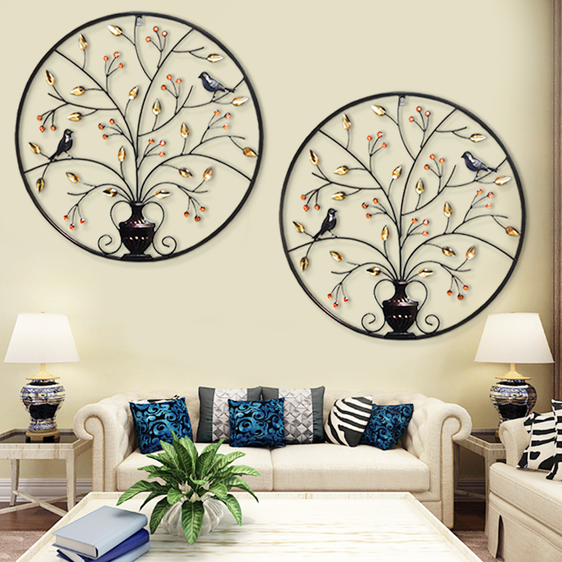 European Iron Circular Wall Decor Ornaments Creative Decoration Hanging Room Background Pendant In Figurines Miniatures From Home Garden On