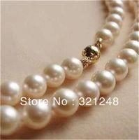 New 2013 14K Solid Gold CL 8 9MM White Akoya Pearl Necklace 18 GE1088