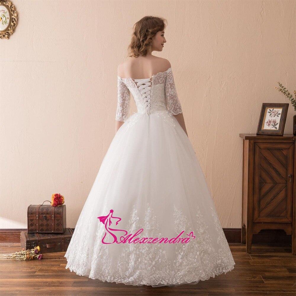 Alexzendra Stock jurken A Line Lace Vintage trouwjurk met korte - Trouwjurken - Foto 2