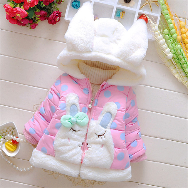 Autumn Baby Girl Coats Spring Cotton  winter coat Baby Jacket Hooded Outerwear Clothes for 6M to 3Years old Baby Girls