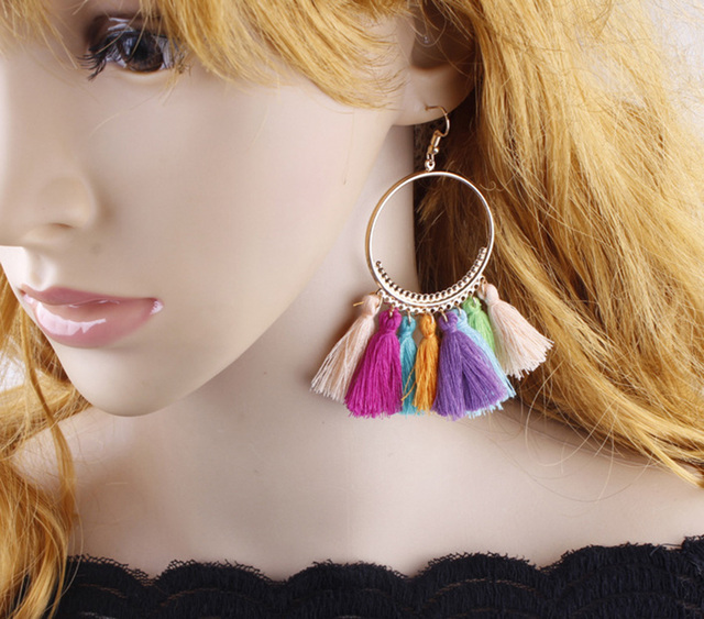 Lacoogh 2017 Ethnic Bohemia Drop Dangle Long Rope Fringe Cotton Tassel Earrings Trendy Sector Earrings for Women Fashion Jewelry 5