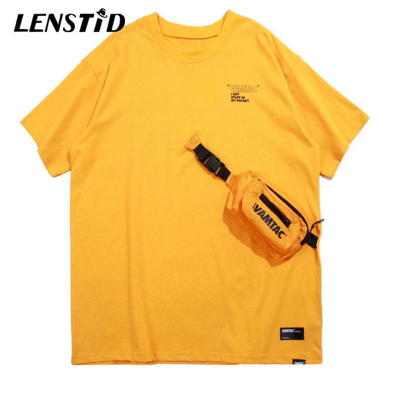 LENSTID Front Pockets Bag Tshirts Streetwear Men 2019 Summer Hip Hop Casual Swag Tops Tees Male Harajuku Short Sleeve   T     Shirts
