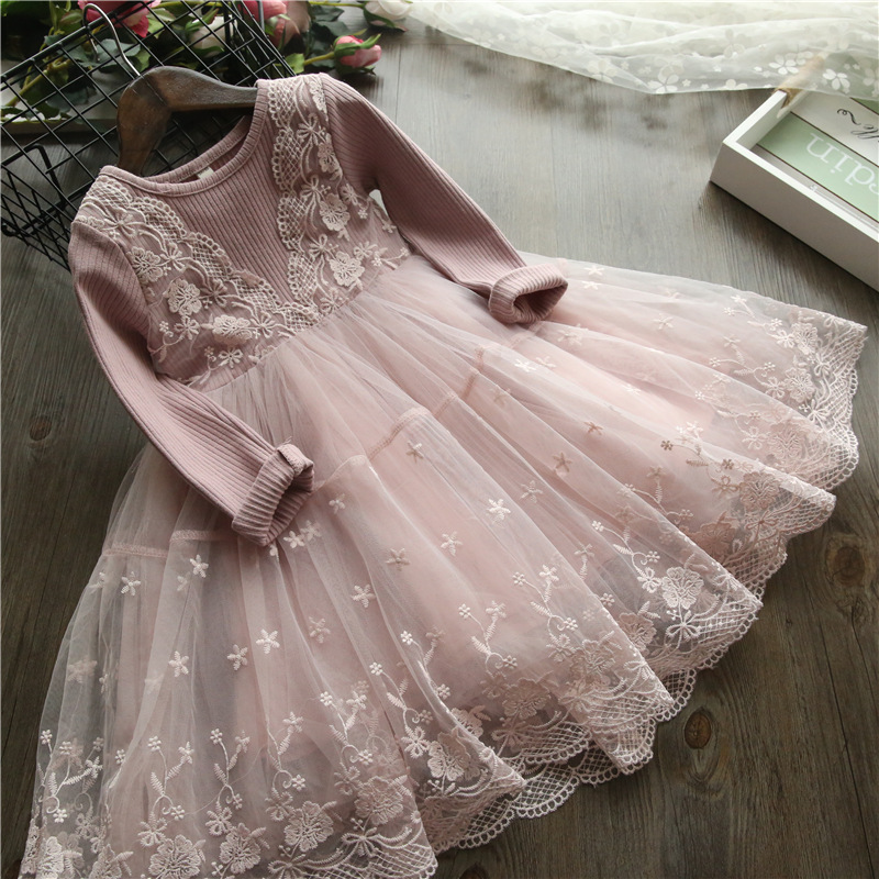 2-8 Year Girls Lace Dress Autumn Fashion Children Warm Knit Dress Girls Long Sleeve Lace Party Dress Baby Clothes D0254 criss cross lace panel long sleeve dress