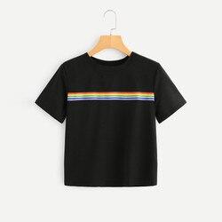 rainbow shirt Tshirt Women Casual T-Shirt O-Neck Fashion Rainbow Striped Short Sleeve Streetwear Ropa Mujer Verano 2019 2