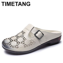 TIMETANG Women Genuine Leather Slippers Summer Flat Slides SlipOn Shoes Hollow Outside Women Slippers Sandals Ladies SlidesE787(China)