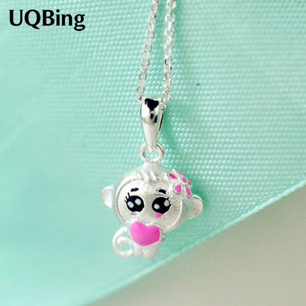 Free Shipping Fashion 925 Sterling Silver Necklace Cute Monkey Pendant Necklaces For Women Jewelry