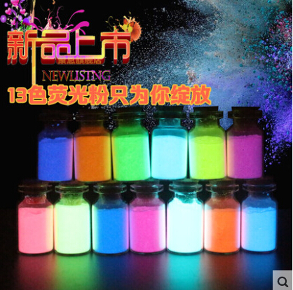 13 Color photoluminescent powder phosphor Pigment for DIY decorationAcrylic Paint Print 5g 13pieces set Glow in dark Powder Dust in Acrylic Paints from Office School Supplies
