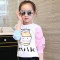 4-15Year Бутылку Из-Под Молока Девушки С Длинным Рукавом Рубашки Осень Теплые Дети Девушки Платье Топ Одежда Хлопок Дышащая Малыша Кофты