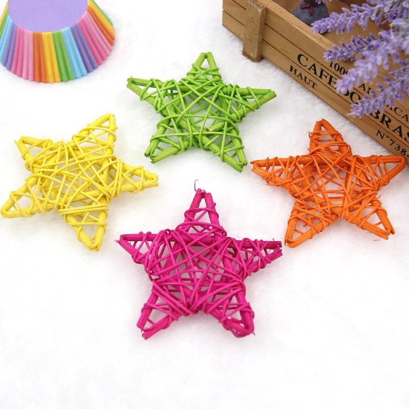 20PCS 6CM Lovely Rattan Star Sepak Takraw Christmas/Birthday&Home Wedding Party Decorations DIY Ornaments Kids Toys Supplies