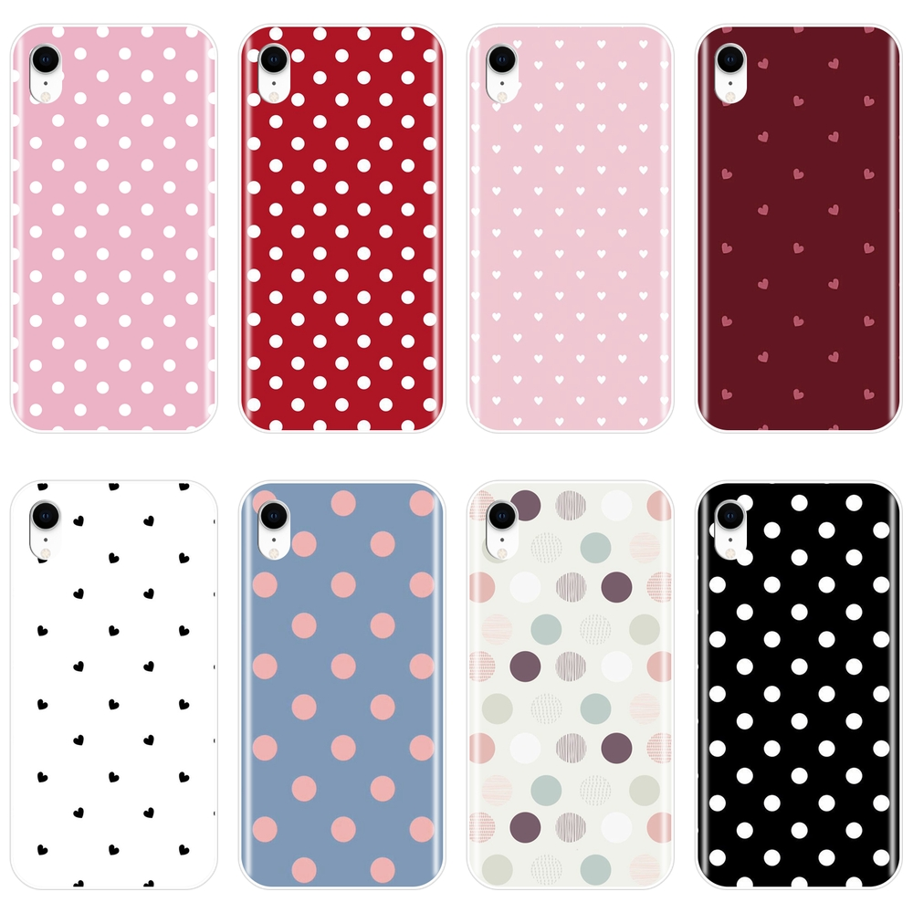 Back Cover For Apple iPhone 6 S 6S 7 8 X XR XS Max Polka Dot Heart Love Silicone Soft Phone Case For iPhone 8 7 6S 6 S Plus Case image