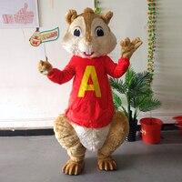 Ohlees realactual obraz Alvin i wiewiórki squirrel Maskotka Kostium na Halloween christmas Party Kostium kostium Kreskówki