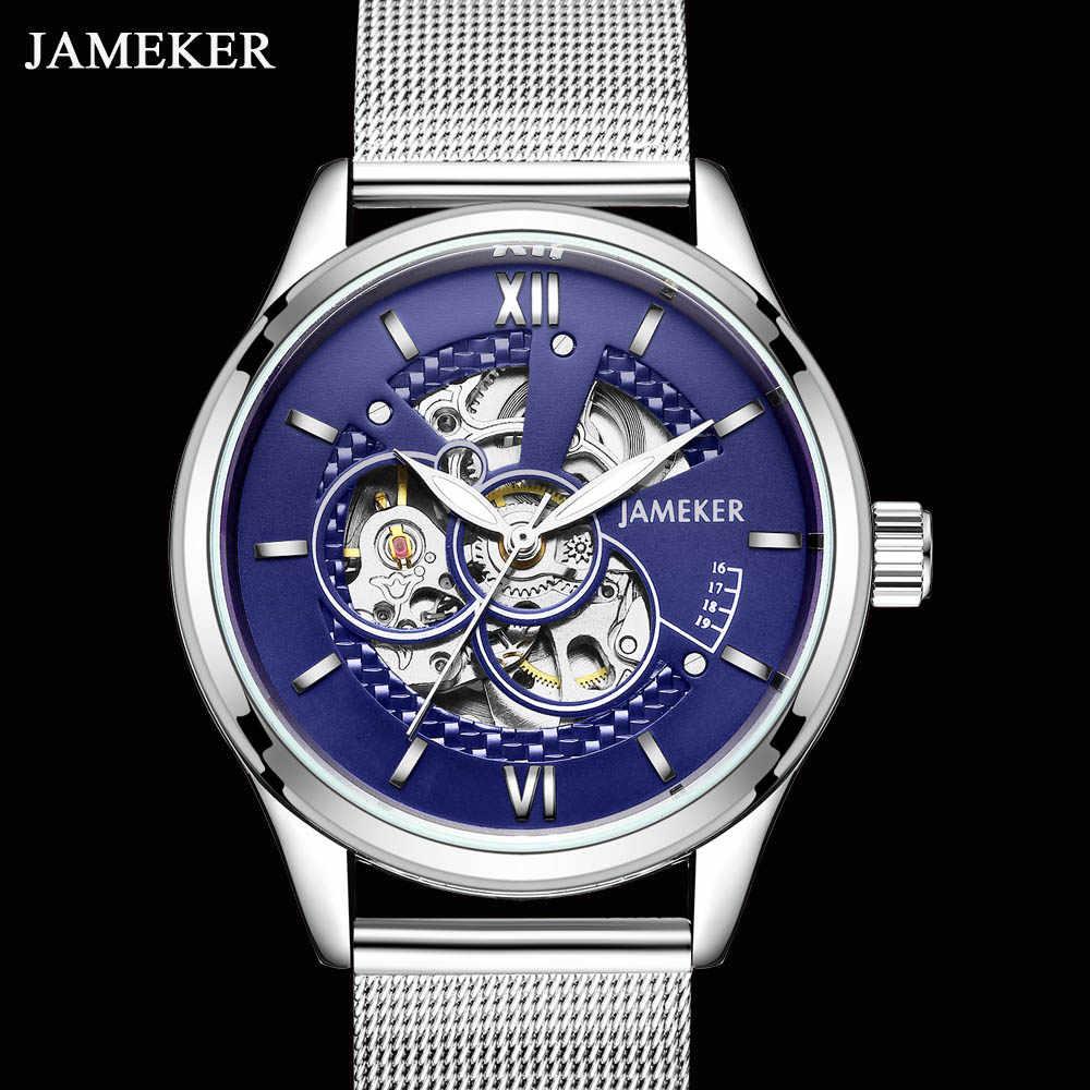 JAMEKER Luxury Mens Watches Top Brand Canvas Mechanical Skeleton Men Watch Waterproof Sport Watch Men Man Wristwatch Clock Male