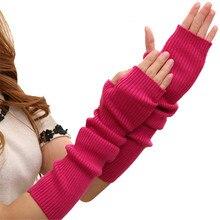 Женские зимние теплые кашемировые длинные перчатки для рук, однотонные теплые варежки, вязаные рукава, 40 см, 50 см, 60 см, перчатки AD0454