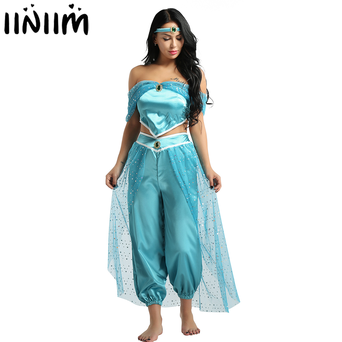 Womens Adult Jasmine Princess Glittery Reflective Costume Off Shoulder Crop Top with Pants Set Halloween Cosplay Party Dress Up