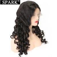 Spark Full Lace человеческих волос, парики бразильский свободные волнистые волосы парики для женщина может сделать волосы младенца натуральный Ц