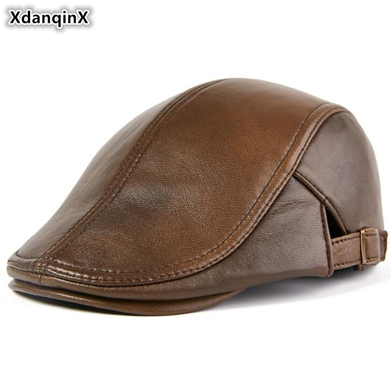 XdanqinX Autumn Winter Genuine Leather Hat Men's Fashion Beret Elegant Women's Sheepskin Tongue Cap Adjustable Size Leather Hats