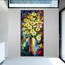 Yellow Flowers PALETTE KNIFE Still Life Modern Art Home Decor Oil Painting On Canvas Handpainted art