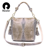 REALER Brand Genuine Leather Handbag Women Small Tote Bag Shoulder Bags Ladies Classic Serpentine Pattern Leather