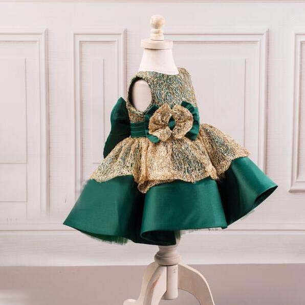 3fc58d8a066e5 Beautiful emerald green and gold lace ball gown toddler celebration pageant  flower girl dress with bow baby birthday party gown