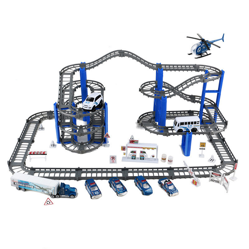 Double Magical Racing Car Track Police <font><b>Electric</b></font> Cycle Car <font><b>Puzzle</b></font> Race Rail Car <font><b>General</b></font> Mobility Helicopter Set Children's Toys