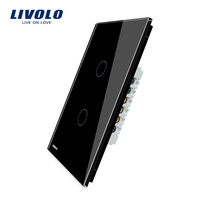 Manufacturer LIVOLO Wall Switch 110 250V Knight Black Glass Panel 2 Gang US Touch Light Switch