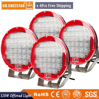 320Watts 9 inch Round black red Led work driving lights For Car Truck Boat offroad spotlight x4pcs free shipping free cover