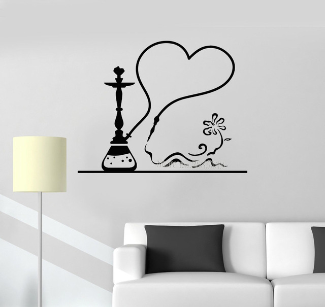 New Arrivals Vinyl Sticker Decals Hookah Smoke Shisha Bar Decor Art