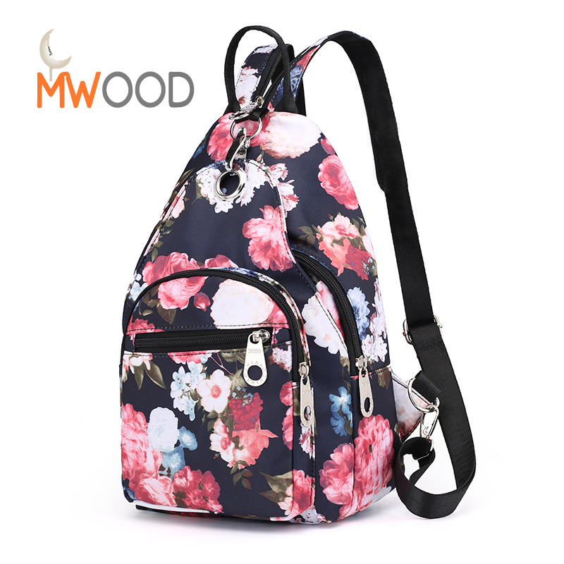 Moon Wood Women Rose Flower Printing Backpacks Glasses Leaf Shoulder Chest Bags Girls Fashion Sweet Colorful Crossbody Bagpack