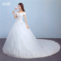 Vestido Noiva Ivory Wedding Gowns Long 2018 White Wedding Dresses Sweetheart Tulle Appliques Flowers Lace Up
