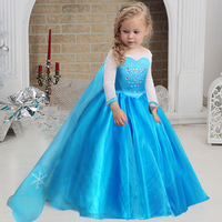 Princess Costumes Girls Snow Queen Halloween Birthday Kids Performance Dresses Ball Gown Long Sleeves 2 11Y