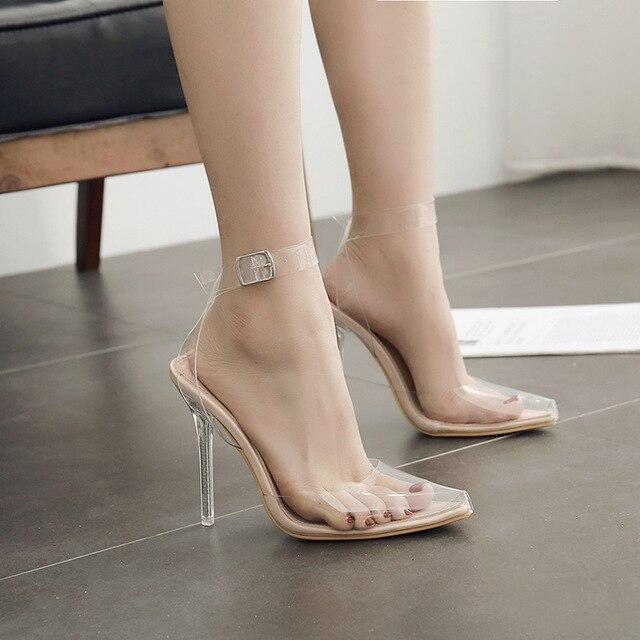 2018 Summer Women Sandals PVC Pointed Toe Clear Transparent High Heel 12CM  Princess Pump Stilettos Slingback Wedding Dress Shoes 0adcd2d2aac8