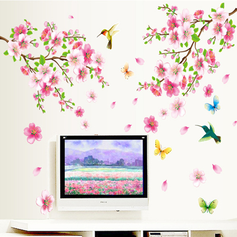 Elegant Flower Wall Stickers Graceful Peach Blossom Birds Wall Stickers PVC Wallpaper Decal Furnishings Living Room Decoration
