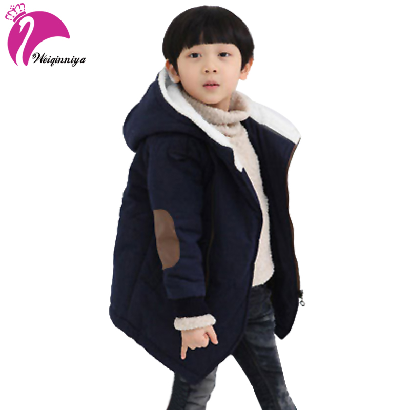 New Brand 2017 Autumn Winter Kid s Fashion Casual Jackets Boy s Cashmere Long Sleeve Hooded