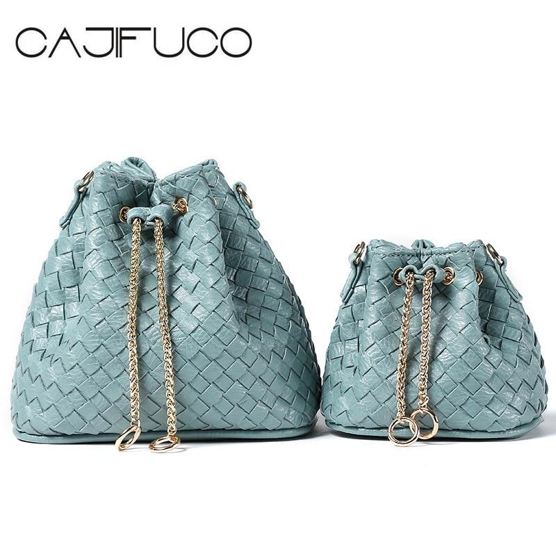 CAJIFUCO Small And Mini Fashion Casual Weave Bucket Bag Crossbody Bag Chain Shoulder Bag Handbag Bolsa