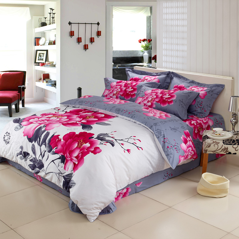<font><b>High</b></font> quality 100% cotton reactive printing bedding set pillowcase duvet cover bed sheet <font><b>the</b></font> queen <font><b>king</b></font> size
