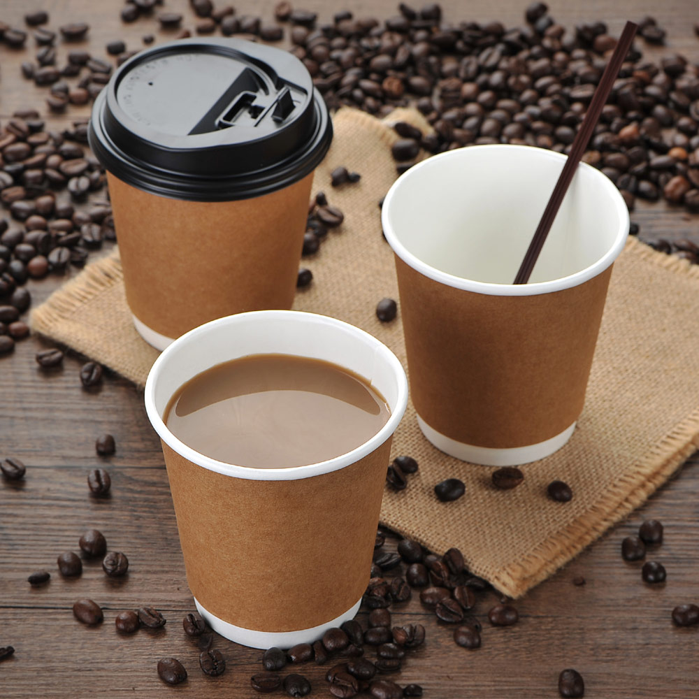 100 PCs Disposable Kraft 8oz Paper Cups Ripple And Insulated Cups With Switch Lid Coffee Cup Home Bar Wedding Party Supplies