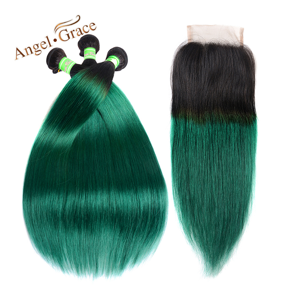 Ombre Bundles With Closure 3 Bundles With Closure T1b/ Green Dark Roots Turquoise Silk Straight Human Hair 3/4 Bundles With Closure