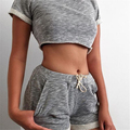 2016 New Summer Women Sets Cropped Tops Shorts Set 2 Pieces Sets Women s Tracksuit Cotton Blend t shirts shorts KH869234